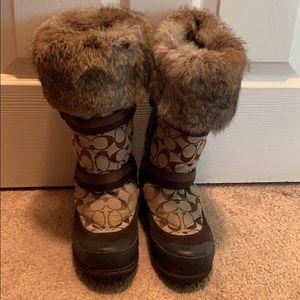 Coach Mariette fur trimmed boot.